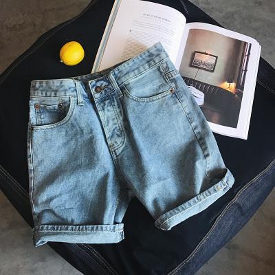 กางเกงยีนส์ขาสั้นสีฟ้าเกาหลี สไตล์ฮ่องกง