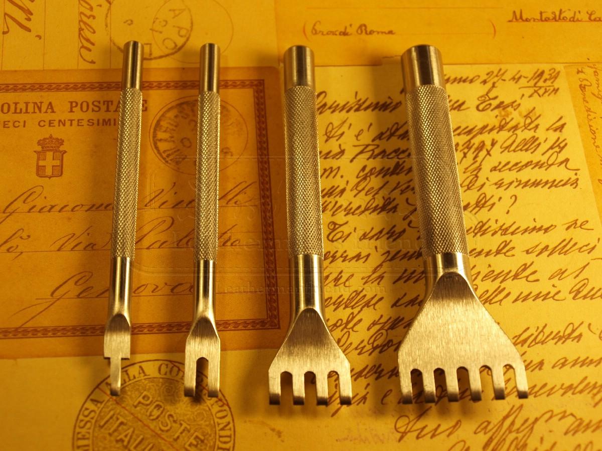 ชุดส้อมตอก งานถักริม ระยะฟัน 2 มิล ระยะห่าง 3 มิล ส้อม 1+2+4+6ฟัน