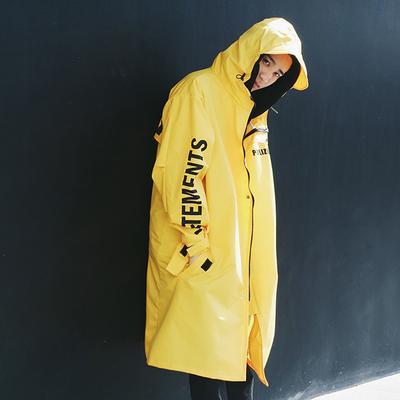 เสื้อฮู้ดกันฝนตัวยาวสไตล์เกาหลี แต่งแถบตัวอักษร มี3สี