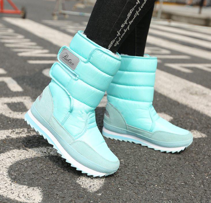 Pre Order - รองเท้าบูทกันหนาว รองเท้าบูทลุยหิมะ ผ้าร่ม+หนังPU ข้างในบุหนังสัตว์ สี : เทา / ดำ / ชมพู / ไวน์แดง / ฟ้า / ม่วง / กากี ไซส์ 35 / 36 / 37 / 38 / 39 / 40