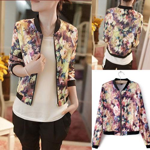 ++สินค้าพร้อมส่งค่ะ++ เสื้อ jacket แฟชั่นเกาหลี แขนยาว ผ้าไหมพิมพ์ลาย สไตล์เบสบอลดีไซด์ – สีชมพู