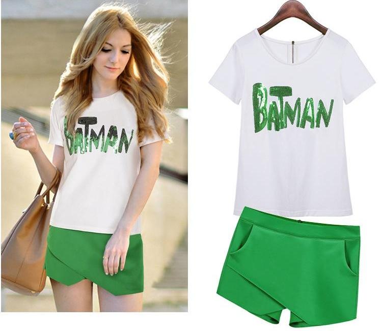 ##พร้อมส่ง## เซตคู่ เสื้อกางเกงกระโปรงแฟชั่น ทั้งไซส์ใหญ่ ไซส์เล็ก เสื้อแขนสั้นเย็บBatman กางเกงขาสั้นดีไซส์ทันสมัย สี : ขาวเขียว