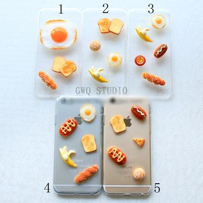 เคสไอโฟน/iPhone ตกแต่งอาหารเช้า breakfast ขนมปัง มี5แบบ