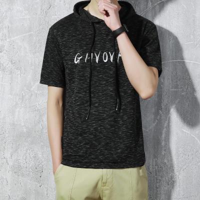 เสื้อฮู้ดแขนสั้นเกาหลี แต่งลายเซอร์ พิมพ์ลายด้านหน้า มี2สี