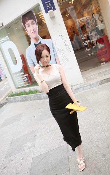 God is Girl ++สินค้าพร้อมส่งค่ะ++ชุดเดรสเกาหลี คอ U แขนกุด ผ้า cotton ทรงเข้ารูป น่ารัก – สี Apricot