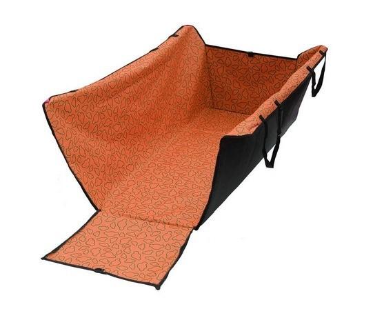 ผ้าคลุมเบาะรองหลังรถยนต์สำหรับสัตว์เลี้ยงแบบยาว (สีส้ม)