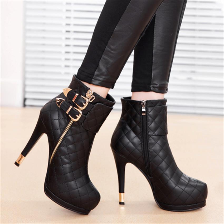 Pre Order รองเท้าบูทสั้น ส้นสูงสไตล์ยุโรป ดีไซน์ซิปข้างติดข้อเท้าด้วยหัวเข็มขัด มี2สี