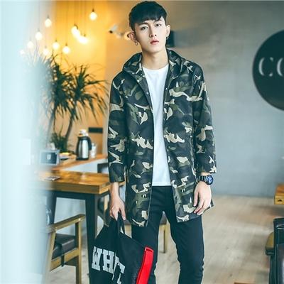 เสื้อคลุมแจ็คเก็ตเกาหลี แต่งลายพรางทหาร มีฮู้ด กันลมกันฝน มี4สี