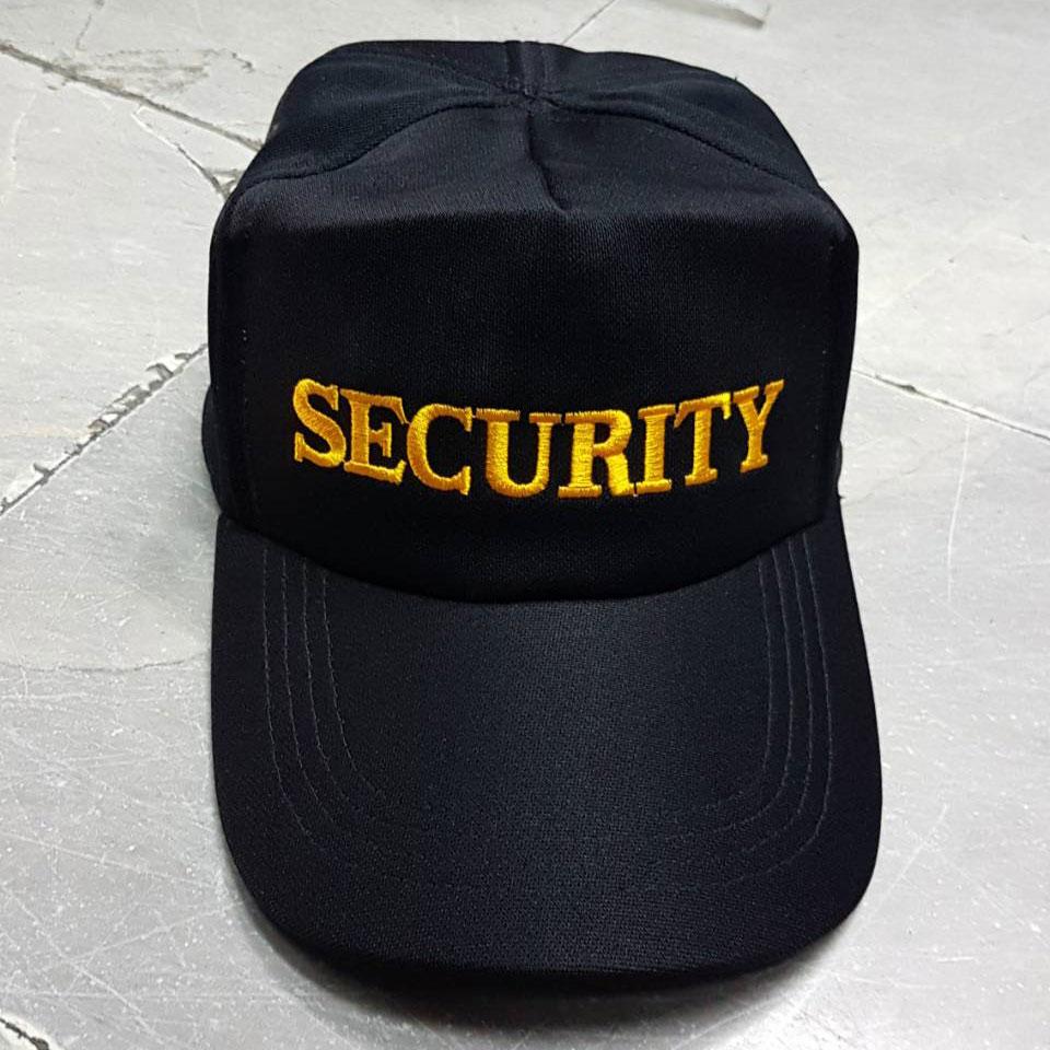 หมวกแก็ปผ้าชาลี ซิปหลัง SECURITY (มี ดำ กรมท่า)