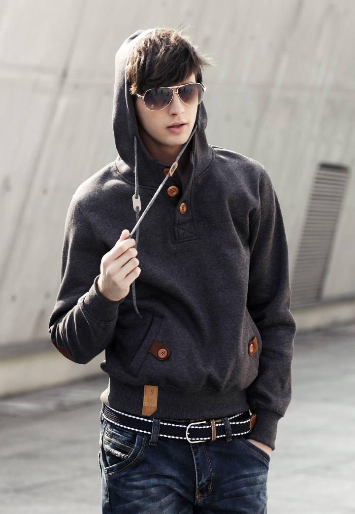 Pre Order เสื้อกันหนาวผู้ชายสไตส์ยุโรป แขนยาวมีฮู้ด คอแต่งกระดุม มีกระเป๋าข้างดีไซน์เท่ห์ มี5สี