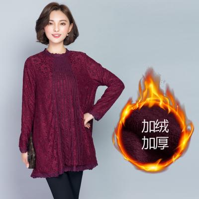 PreOrderคนอ้วน - เสื้อกันหนาวแฟชั่น ผ้าลูกไม้ ด้านในเป็นกำมะหยี่ สี : ดำ / ไวน์แดง