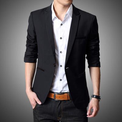 Pre Order เสื้อสูทแจ็คเก็ตสีดำ คอปก ดีไซน์กระดุมเม็ดเดียว มีกระเป๋าข้าง สไตล์เกาหลี