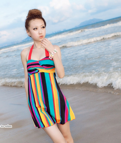 Pre Order - ชุดว่ายน้ำ ชุดกระโปรง สีสันสดใส ลายสายรุ้ง