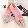 Pre Order - รองเท้าแฟชั่นเกาหลี ใช้ผ้าลูกไม้โปรงใส แต่งลูกปัดไว้ด้านหน้าเท้า สี : สีม่วง / สีชมพู / สีครีม