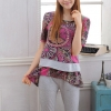 Pre Order - แฟชั่นเกาหลี ชุดลำลอง 1 ชุดมี 2 ชิ้น ผ้าชีฟองพิมพ์ลาย + ผ้า cottonสีเทา เสื้อ + กางเกงทรงเก๋ *ผ้าชีฟองโทนสีชมพูอมม่วง