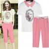 PreOrderไซส์ใหญ่ - เซตคู่เสื้อกางเกงขายาว 5 ส่วน ไซส์ใหญ่ คนอ้วน ชุดลำลอง เสื้อพิมพ์ลายสีขาว กางเกง 5 ส่วนสีชมพู น่ารัก