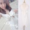 ViVi Party ++สินค้าพร้อมส่งค่ะ++ชุดเดรสเกาหลี คอ V ลึก แขนกุด ผ้าชีฟองเนื้อดี ดีไซด์เซ็กซี่คอเสื้อผูกเก๋ ปลายเดรสใส่แบบป้าย – สีขาว