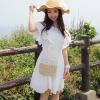 Cherry Dress ++สินค้าพร้อมส่งค่ะ++ ชุดเดรสเกาหลี ดีไซด์โชว์ไหล่ ลูกไม้ระบายรอบ สวยหวานมากๆ – สีขาว