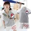 ++สินค้าพร้อมส่งค่ะ++ ชุดเซ็ท Sport set เกาหลี เสื้อ Jacket แขนสั้นเต่อ สกรีนด้านหลัง Vintage + กางเกงขาสั้น สกรีนตัวอักษร น่ารักมากค่ะ - สีเทา/ขาว
