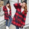 PreOrderคนอ้วน - เสื้อกันหนาว ไซส์ใหญ่ ผ้าซาติน+โพลิเอสเตอร์ ลายสก๊อต มีHood สีแดง