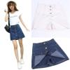Preorderไซส์เล็ก - กางเกงกระโปรงยีนส์ ทรงเอ กระดุมหน้า สี : ยีนส์เข้ม / ยีนส์ขาว