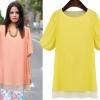 ##พร้อมส่ง## เสื้อแฟชั่นไซส์ใหญ่ แขนสั้น ผ้าชีฟอง เสื้อสองชั้นเย็บติดกัน สีเหลือง