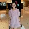Cherry Dress ++สินค้าพร้อมส่งค่ะ++ชุดเดรสเกาหลี แขนสามส่วน ทรงตุ๊กตา ผ้าฝ้ายปักฉลุลายดอกไม้ หวานน่ารัก - สีม่วง