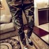 Pre Order กางเกงขายาวลายทหาร แนวฮาเร็ม แฟชั่นเกาหลี ขาจั๊ม มี2สี