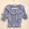 Pre Order - เสื้อแฟชั่น น่ารัก คอบัวใหญ่ เสื้อแขนสั้น จั้มเอว ลายผ้าพิมพ์ลายดอกไม้ สีฟ้า