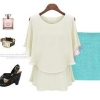 ##พร้อมส่ง## เสื้อแฟชั่นไซส์ใหญ่ ผ้าชีฟอง ทรงค้างคาว เปิดไหล่ สีขาว