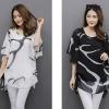PreOrderไซส์ใหญ่ - เสื้อแฟชั่น ไซส์ใหญ่ คนอ้วน ผ้าชีพฟองพิมพ์ลาย ผ้าพริ้วสบาย ๆ สี : ขาว / ดำ