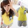 ++สินค้าพร้อมส่งค่ะ++ ชุดเซ็ท Sport set เกาหลี เสื้อ Jacket แขนสั้นเต่อ สกรีนด้านหลัง Vintage + กางเกงขาสั้น สกรีนตัวอักษร น่ารักมากค่ะ - สีเหลือง/เทา