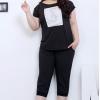 PreOrderไซส์ใหญ่ - เซตคู่เสื้อ+กางเกง 5 ส่วน คนอ้วนไซส์ใหญ่ ผ้ายืดลำลอง ใส่สบาย ๆ ชิล ๆ สี : ขาว / ดำ