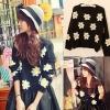 ++สินค้าพร้อมส่งค่ะ++ เสื้อสเวตเตอร์เกาหลี คอกลม แขนยาว ทอลายดอกไม้ daisy น่ารัก มี 3 สีค่ะ - สีดำ