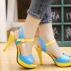 Pre Order - รองเท้าแฟชั่นเกาหลี ส้นสูง สีสันสดใส ของสาวยุคใหม่ สี : สีน้ำเงิน / สีชมพู / สีขาว