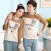 Pre Order ชุดนอนคู่รักเกาหลี เสื้อคอกลมแขนยาวสกรีนลาย Happy Day +กางเกงขายาว สีตามรูป