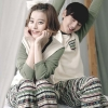 Pre Order ชุดนอนคู่รักแฟชั่นเกาหลี เสื้อแขนยาว แต่งสลับสี+กางเกงขายาว สีตามรูป