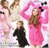 Pre Order - เสื้อกันหนาวแฟชั่น แบบน่ารัก Hood เป็นหูกระต่ายติดโบว์ : สีดำ / สีแดง / สีชมพู / สีขาว