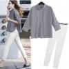 PreOrderไซส์ใหญ่ - เซตคู่เสื้อกางเกงแฟชั่น ไซส์ใหญ่ คนอ้วน เสื้อเชิ้ตลายสก๊อต แขนห้าส่วน กางเกงยืดสีขาว