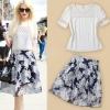 PreOrderไซส์ใหญ่ - เซตคู่เสื้อกระโปรง ไซส์ใหญ่ เสื้อผ้าโพลีเอสเตอลายดอกไม้แต่งมุกสีขาว กระโปรงชีฟองลายดอกไม้สีขาวน้ำเงิน