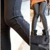 PreOrderคนอ้วน - กางเกงกันหนาวแฟชั่น ไซส์ใหญ่ คนอ้วน ผ้าโพลิเอสเตอร์ แต่งข้างด้วยผ้าลูกไม้ ข้างในผ้ากำมะหยี่ สี : เทาเข้ม / ดำ