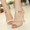 Pre Order - รองเท้าแฟชั่น ส้นสูง 9cm ดีไซด์ที่ทำให้เท้าของคุณโดดเด่น สี : สีทอง / สีขาว