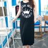Pre Order - เดรสแฟชั่นเกาหลีคนอ้วน Big Size เดรสกระโปรงยาว แขนกุด ผ้าพิมพ็ลาย สีดำ