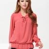 PreOrderไซส์ใหญ่ - เสื้อแฟชั่นเกาหลี ไซส์ใหญ่ ผ้าชีฟองแขนยาว จั้มเอว สี : ดำ / ม่วง / ชมพู