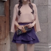 Pre Order ชุดเซ็ทเกาหลี เสื้อผ้าชีฟองดีไซน์เก๋+กระโปรงสั้นแต่งระบาย สีตามรูป