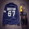 Pre Order เสื้อเชิ้ตผู้ชายแฟชั่นเกาหลี แขนเสื้อแต่งแถบสี สกรีนลายด้านหลัง BOSTON 67 สุดเท่ห์ มี2สี