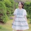 Cherry Dress ++สินค้าพร้อมส่งค่ะ++ชุดเดรสเกาหลี คอกลม แขนตุ๊กตา ปักลายหวานแบบใหม่ ทรงเอวสูง - สีขาว