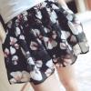 PreOrderคนอ้วน - กางเกงแฟชั่น ไซส์ใหญ่ คนอ้วน กางเกงขาสั้น ผ้าชีฟองพิมพ์ลายดอกไม้ญี่ปุ่น มีซับใน สีดำ