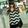 Pre Order - เสื้อแฟชั่นเกาหลี ผ้า Lycra Cotton ลายฟันปลาชายเสื้อตัดต่อผ้าสีดำ สีตามภาพ