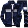Pre Order ชุดวอร์มเกาหลี เสื้อแขนยาวแต่งลายคาดอก คอปก+กางเกงขายาว มี3สี